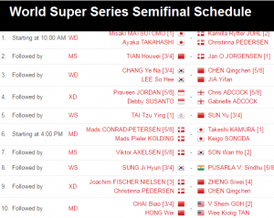 Dubai World Super Series 2016 semifinal schedule